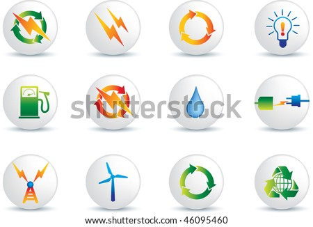 electrical power detailed icon set  collection of buttons - stock vector