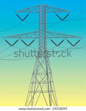 Electrical power line. Vector illustration - stock vector