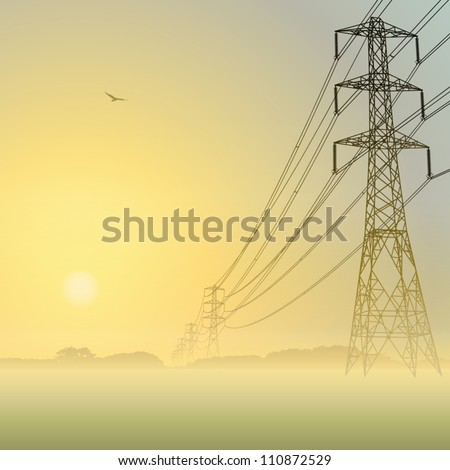 Electrical Power Lines and Pylons with Misty Sunrise, Sunset - stock vector