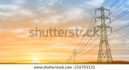 Electrical Power Lines and Pylons with Sunrise, Sunset. Vector EPS 10 - stock vector