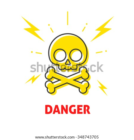 Electrical shock hazard sign vector badge, electricity protection warning danger sticker, high potential flat icon label with skull crossbones emblem illustration symbol isolated on white, lightning - stock vector