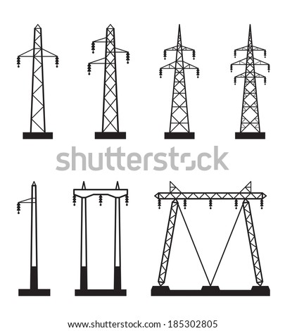 Electricity pole on types of power lines