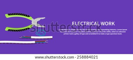 Electrical work. Metal pliers with tangled blue red electric cable, pliers cut the cable. Flat icon modern design style concept  - stock vector