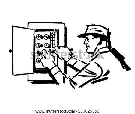 Electrician At Work - Retro Clip Art Illustration