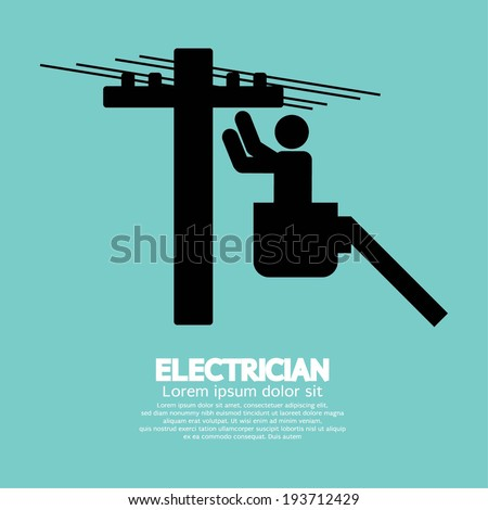 Electrician Black Sign Vector Illustration - stock vector