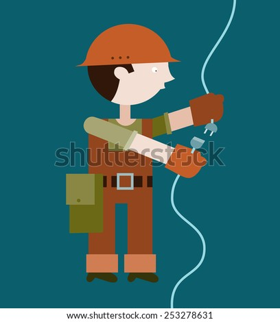 Electrician connecting wire - stock vector