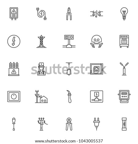 Electrician Elements Outline Icons Set Linear Stock Photo (Photo ...