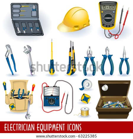 Electrician equipment icons - stock vector