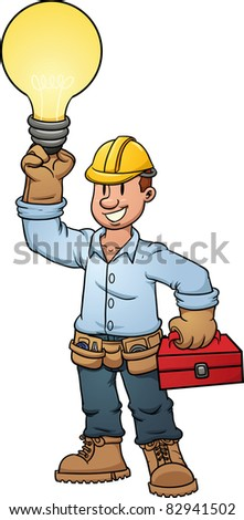 Electrician holding a lightbulb. Vector illustration with simple gradients. All in a single layer. - stock vector
