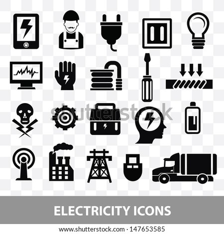Electrician icons on blank background,vector - stock vector