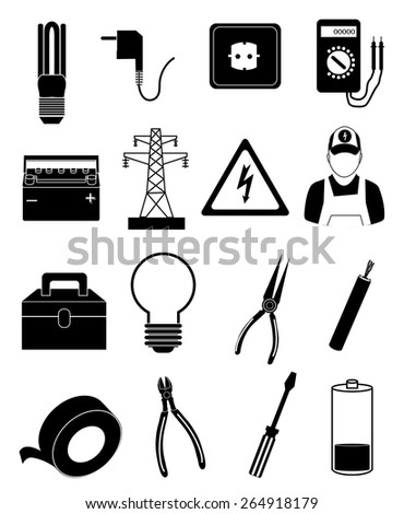 electrician icons set - stock vector