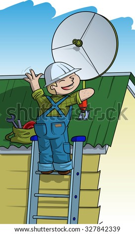 Electrician installs satellite plate on the roof - stock vector