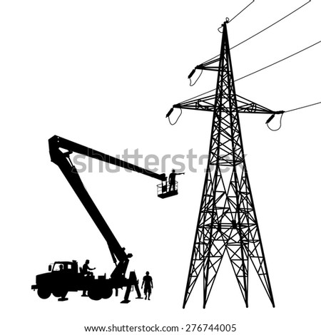 Electrician, making repairs at a power pole. Vector illustration. - stock vector