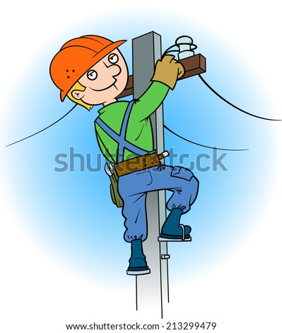 Electrician on the pole - stock vector