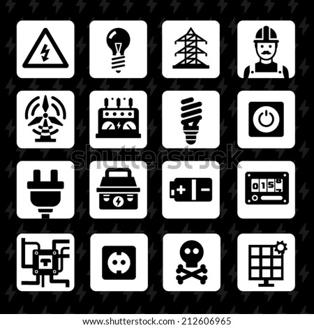 Electricity and light. Vector flat icon set: voltage light bulbs, power line repair, electrician tools button, counter, battery, plugs, sockets, circuit, skull. Black and white silhouettes - stock vector