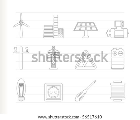 Electricity and power icons - vector icon set - stock vector