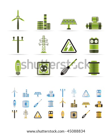 Electricity and power icons - vector icon set - 3 colors included