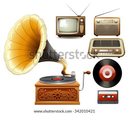 Electricity devices in old time illustration - stock vector