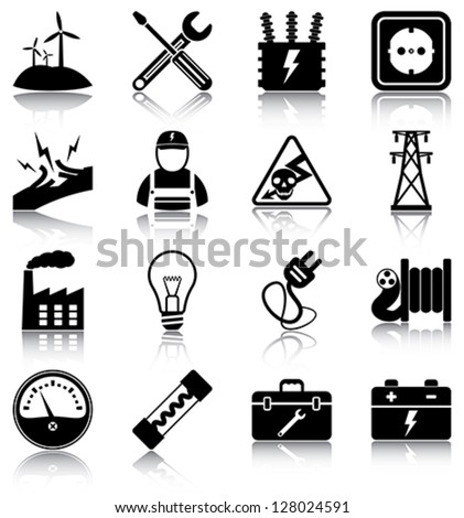 Electricity - 16 electricity related icons/ silhouettes. - stock vector