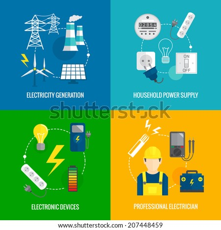 Electricity energy concept flat business icons set of household power professional electrician for infographics design web elements vector illustration - stock vector