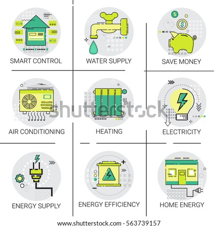 Electricity energy supply power invention heating stock vector 563739157 shutterstock - How to choose an energy efficient air conditioner ...