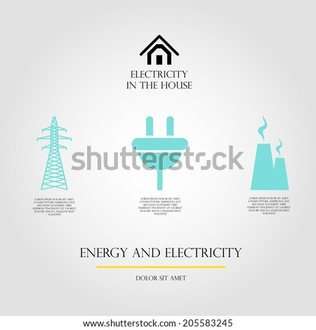 electricity for home infographic vector - stock vector