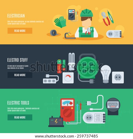 Electricity horizontal banner set with electrician electro stuff flat elements isolated vector illustration - stock vector