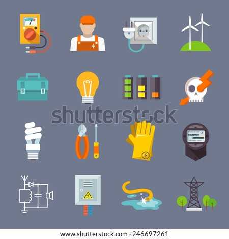 Electricity icon flat set with multimeter electrician socket pylon isolated vector illustration - stock vector