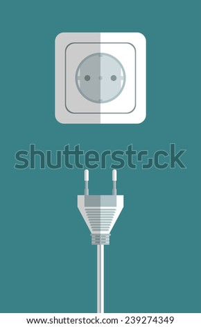 Electricity icon flat with plug and socket on blue background vector illustration - stock vector
