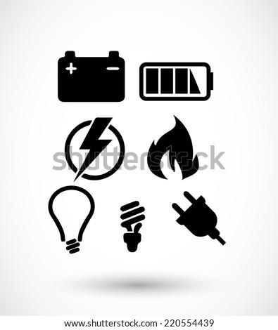 Electricity icon set vector - stock vector