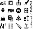 Electricity icons - stock photo