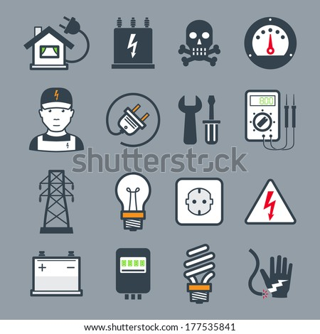 Electricity icons / colors - stock vector