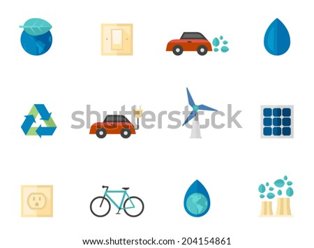 Electricity icons in flat colors style - stock vector
