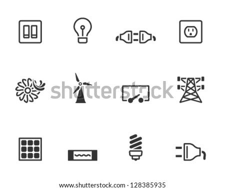 Electricity icons in single colors - stock vector