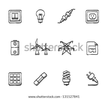 Electricity icons in sketches - stock vector
