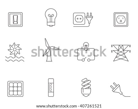Electricity icons in thin outlines.  - stock vector