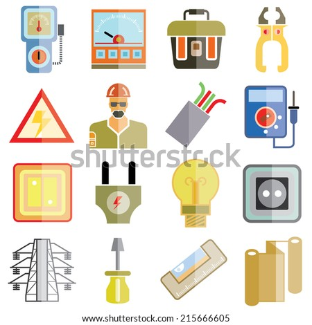 electricity icons, industrial tools icons, engineering icons flat theme design - stock vector