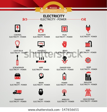 Electricity icons,Red version,vector - stock vector