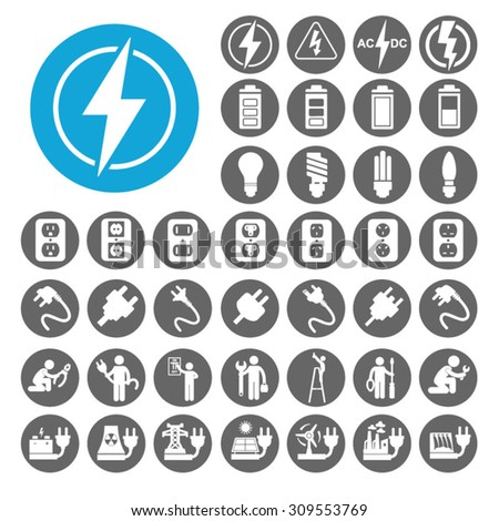 Electricity icons set. Illustration EPS10 - stock vector