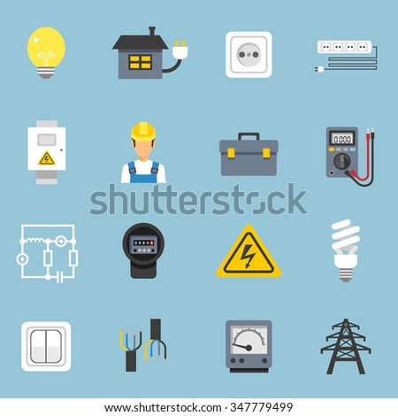 Electricity icons set with current and sockets symbols on blue background flat isolated vector illustration  - stock vector