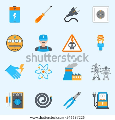 Electricity icons set with voltmeter wire screwdriver electrician warning sign isolated vector illustration - stock vector