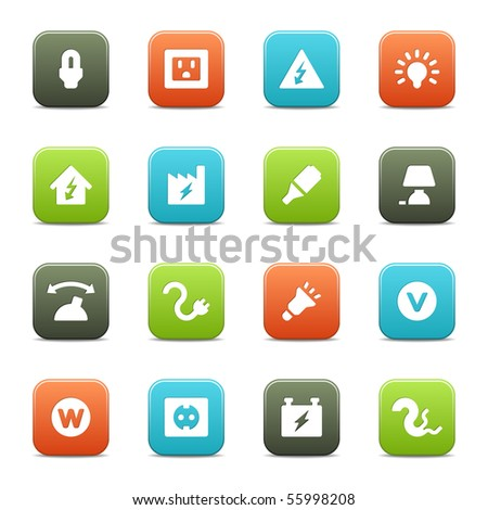 Electricity icons. The vector file includes four color versions of each icon. - stock vector