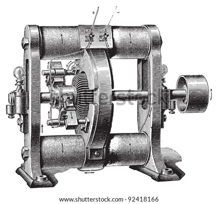 Electricity machine (dynamo electric) by Schuckert / vintage illustrations from Meyers Konversations-Lexikon 1897 - stock vector