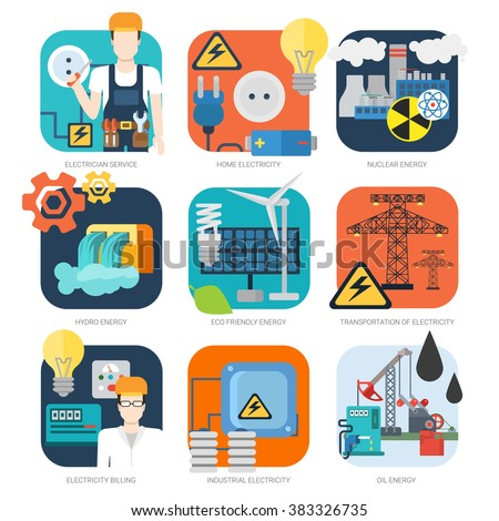 Electricity nuclear hydro oil eco friendly power energy industrial vector icon set. Flat ecology green renewable energy power consumption sustainable development recycling web infographic concept. - stock vector