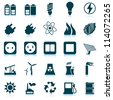 Electricity, power and energy icon set. Vector illustration. - stock vector