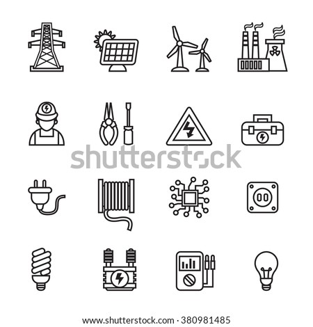 Electricity, power and energy icons - Line Style stock vector. - stock vector