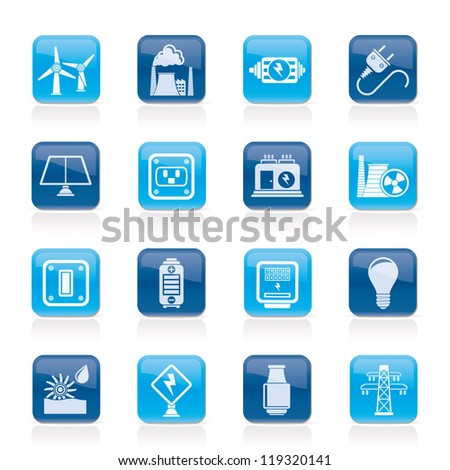 electricity, power and energy icons - vector icon set - stock vector