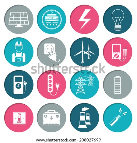 Electricity power energy icons set in white color on circles vector illustration - stock vector