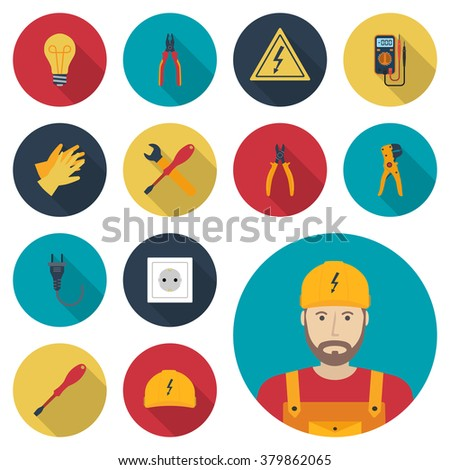 Electricity set icon flat. Icons electric tools, equipments and maintenance. Signs of work safety. Colored icons isolated with shadow. Avatar electrician. Vector illustration, flat design. - stock vector
