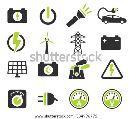 Electricity simply symbols for web icon set - stock vector